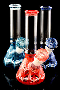 Small Glass on Glass Colorful Striped Beaker Water Pipe - WP2275