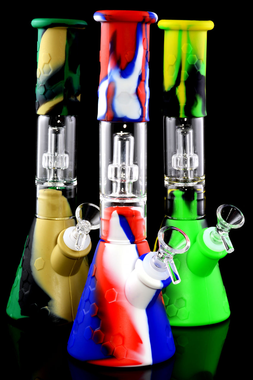 Medium Colorful 3 Part Silicone Water Pipe with Glass Dome Showerhead Perc - WP2278