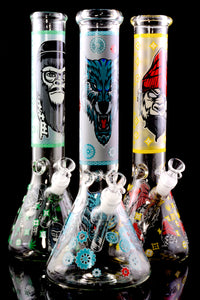 (US Made) Large GoG Glow in the Dark Decal Beaker Water Pipe - WP2279
