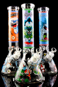 Large 7mm Thick GoG Glow in the Dark R&M Beaker Water Pipe - WP2299