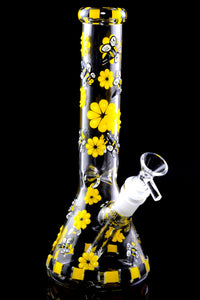 Small GoG Glow in the Dark Bumble Bee Beaker Water Pipe - WP2303