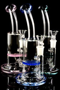 Small Stemless Glass on Glass Water Pipe with Honeycomb Perc - WP2311