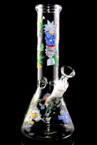 Small Clear Glass on Glass R&M Decal Beaker Water Pipe - WP2315