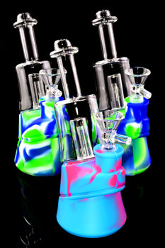 Small Colorful Silicone Glass Water Pipe with Dome Perc - WP2316