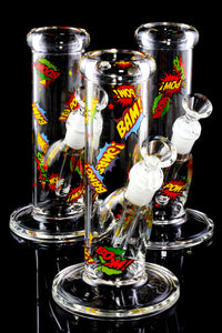 Small Clear Straight Shooter Glass on Glass Water Pipe with Decals - WP2317