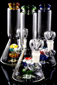 Small Stemless Glass on Glass Beaker Water Pipe with Unique Showerhead Perc - WP2321