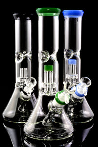Medium Glass on Glass Beaker Water Pipe with Dome Showerhead Perc - WP2347
