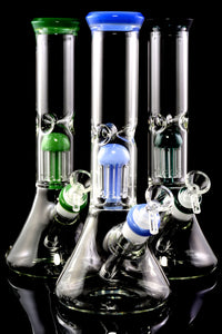 Medium Glass on Glass Beaker Water Pipe with Tree Perc - WP2348