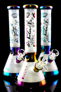 Medium Multicolor Metallic Frosted Sea Critter Glass on Glass Beaker Water Pipe - WP2356