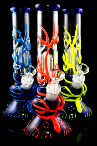 Small GoG Glow in the Dark Neon Beaker Water Pipe with Tree Perc - WP2357