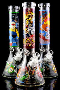 Large 7mm Thick GoG R&M Decal Beaker Water Pipe - WP2358