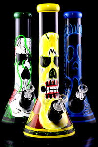 Large Thick GoG Hand Drawn Glow in the Dark Skull Beaker Water Pipe - WP2360