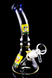 Small Clear Glass on Glass Decal Beaker Water Pipe - WP2363