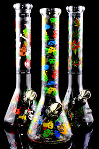 Medium Glass Decal Beaker Water Pipe - WP2369