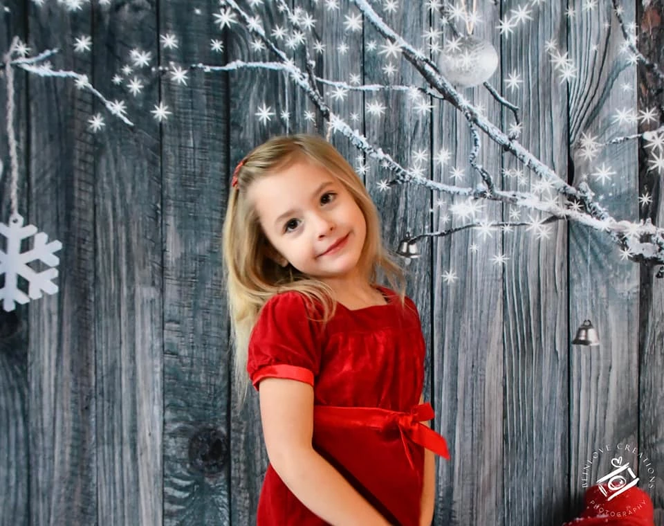 Load image into Gallery viewer, Kate Snowflake Outdoor Decoration Gray Wooden Background for Christmas Photography - Kate backdrop UK