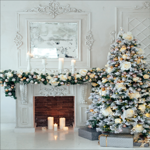 Load image into Gallery viewer, Kate White Christmas Photography Backdrop Indoor Fireplace Studio Props