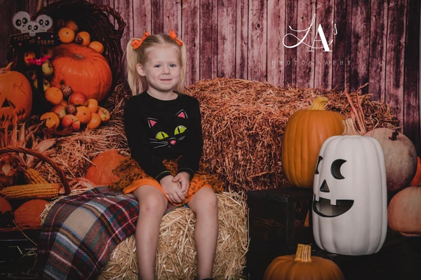 Kate Halloween Fall Pumpkin Grass Pile Farm Backdrop Photography