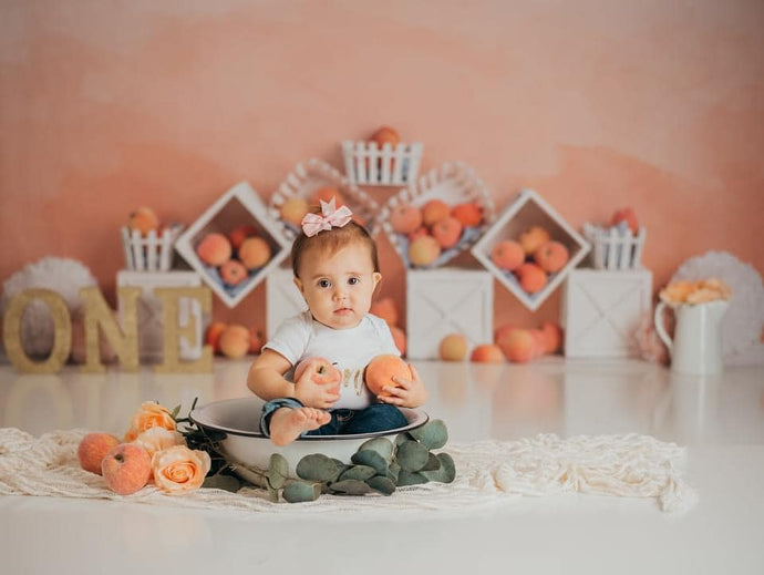 Kate Fall Peaches and Cream Backdrop for Children Designed By Mandy Ringe Photography