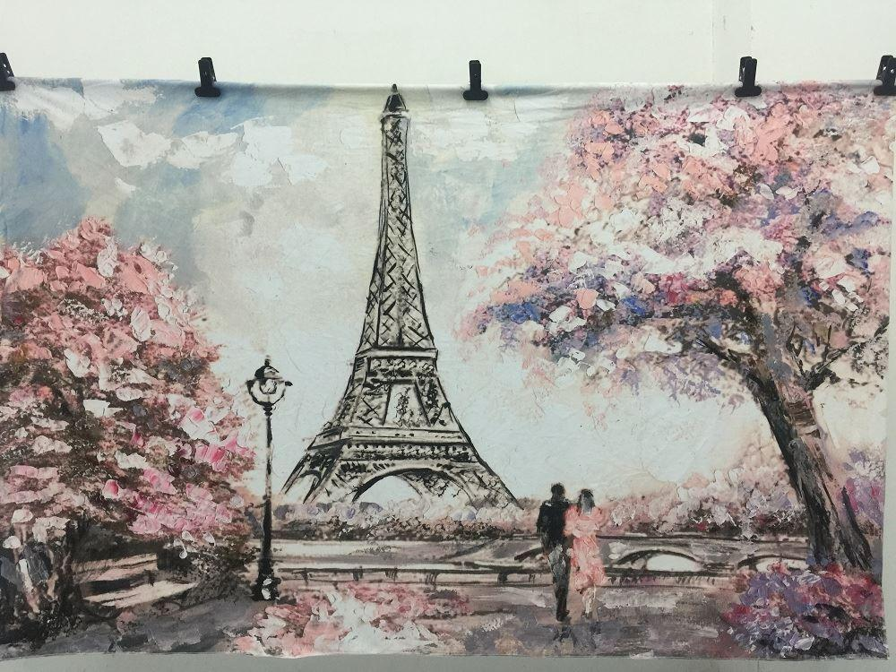 Load image into Gallery viewer, Katebackdrop:Kate Oil Hand Painting Backdrop, Eiffel Tower Paris,Flower Tree