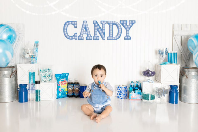 Kate Blue Candy Crush Birthday Children Backdrop Designed By Pine Park Collection