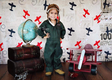 Kate Retro Planes Valentines Backdrop for Photography designed by Jerry_Sina