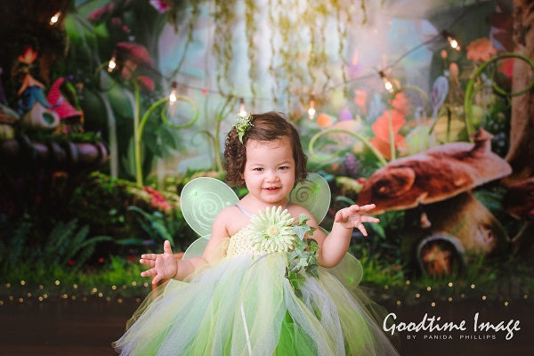Kate Fairy Tale Colorful Forest Green Mushrooms Backdrops