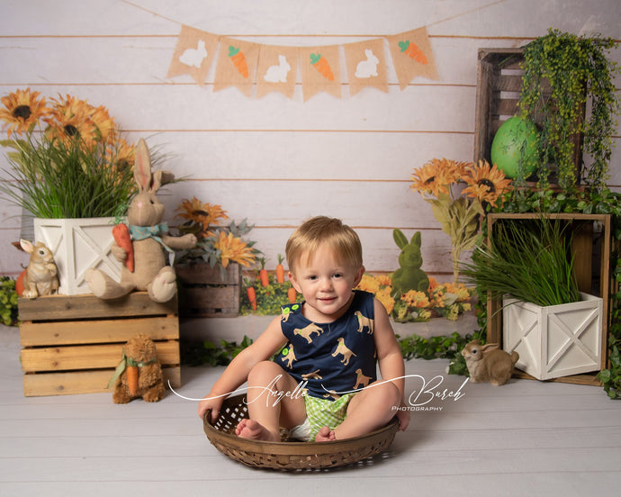 Kate Easter/Spring Sunflowers Carrots Rabbit Wood Wall Backdrop Designed by Jia Chan Photography