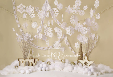 Kate Paper Snowflakes Winter Joy Birthday Backdrop for Photography Designed by Mandy Ringe Photography