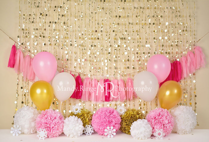 Kate Pink and Gold Winter Birthday Backdrop for Photography Designed by Mandy Ringe Photography