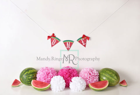 Kate Summer Watermelon First Birthday Backdrop for Photography Designed by Mandy Ringe Photography