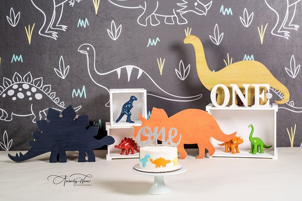 Load image into Gallery viewer, Kate Gray and White Small Dinosaur Backdrop for Children Photography Designed by Amanda Moffatt