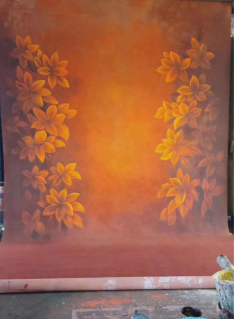 Kate Orange Autumn Spray Painted Backdrop