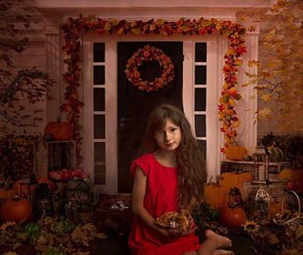 Kate Autumn Harvest Pumpkins Thanksgiving Doorway Backdrop for Photography
