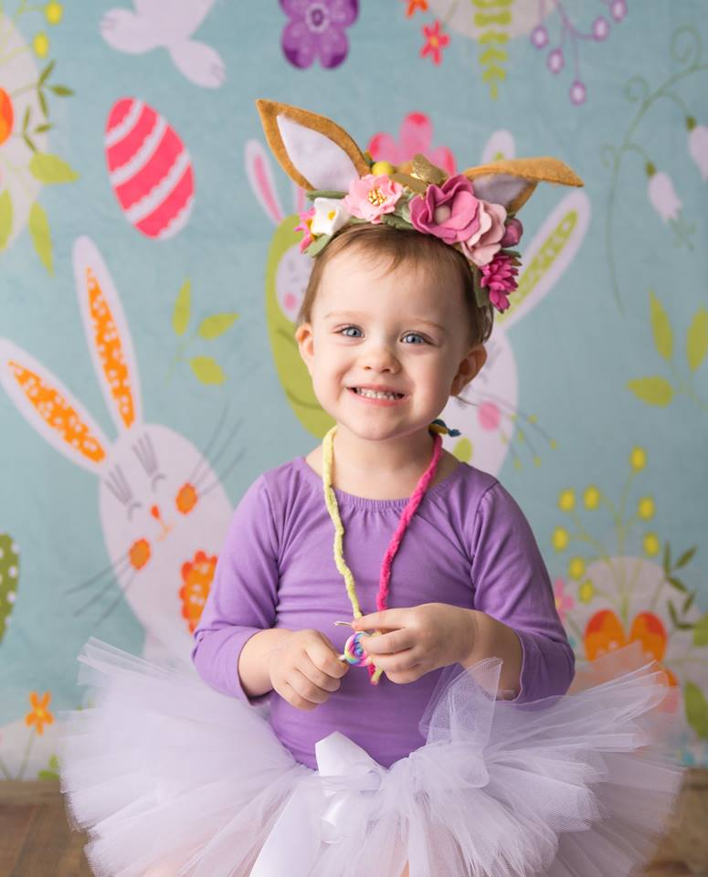 Load image into Gallery viewer, Kate Rabbits And Flowers Easter Backdrop for Photography