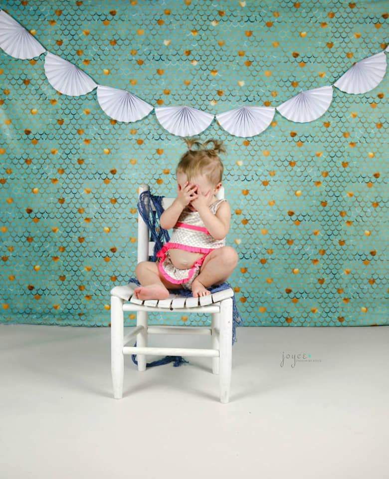Load image into Gallery viewer, Kate Baby Shower Blue Green Golden Ripples Backdrop for Photography Designed by Mini MakeBelieve - Kate backdrops UK