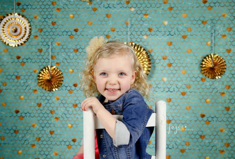 Kate Baby Shower Blue Green Golden Ripples Backdrop for Photography Designed by Mini MakeBelieve - Kate backdrops UK