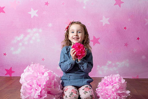 Kate Soft Skies Pink Stars Backdrop for Photography Designed by Mini MakeBelieve