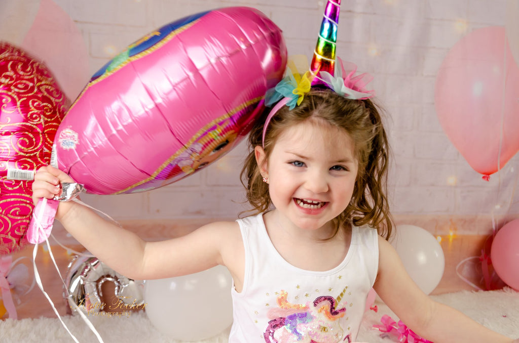 Kate White Brick Wall Pink Balloons and Decorations Girl Birthday Backdrop for cake smash