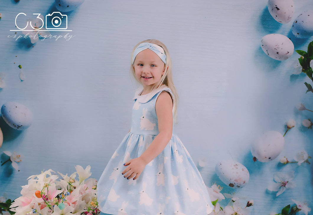 Kate Easter Blue Wall Backdrop Colorful Eggs Photography  Background