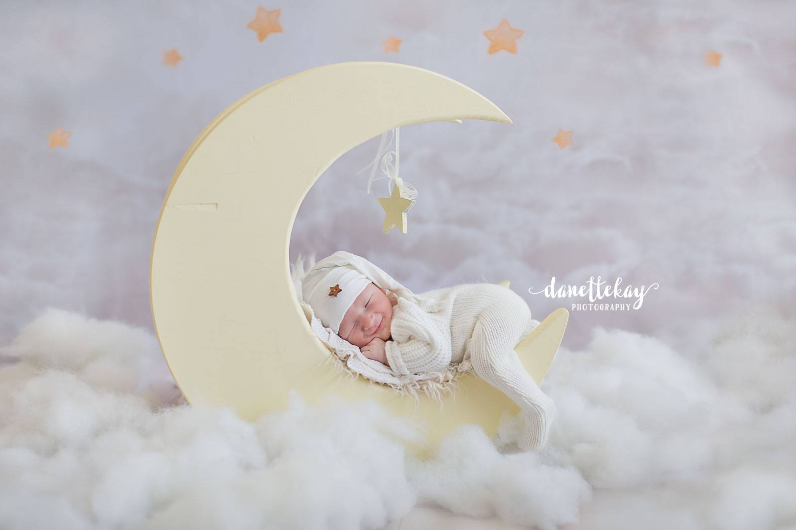 Load image into Gallery viewer, Kate Litter pink sky star backdrop for baby designed by Jerry_Sina
