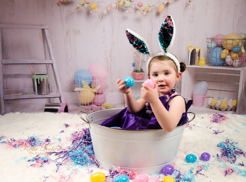 Kate Colorful Eggs Decorations Easter Spring Children Backdrop for Photography Designed by Erin Larkins