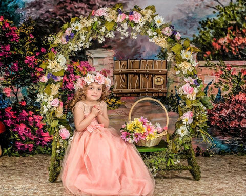 Kate Spring Flowers and Fence Children Backdrop for Photography Designed by JFCC