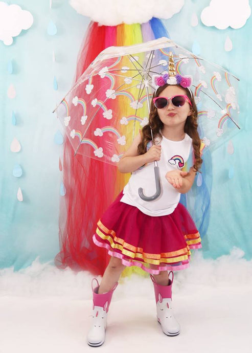 Kate Rainy Summer Rainbow Children Backdrop Designed by Leann West