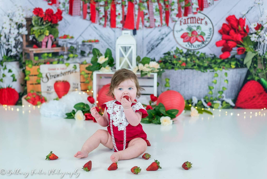 Kate Summer Strawberry White Wooden Board With Banners Birthday Backdrop  Studios