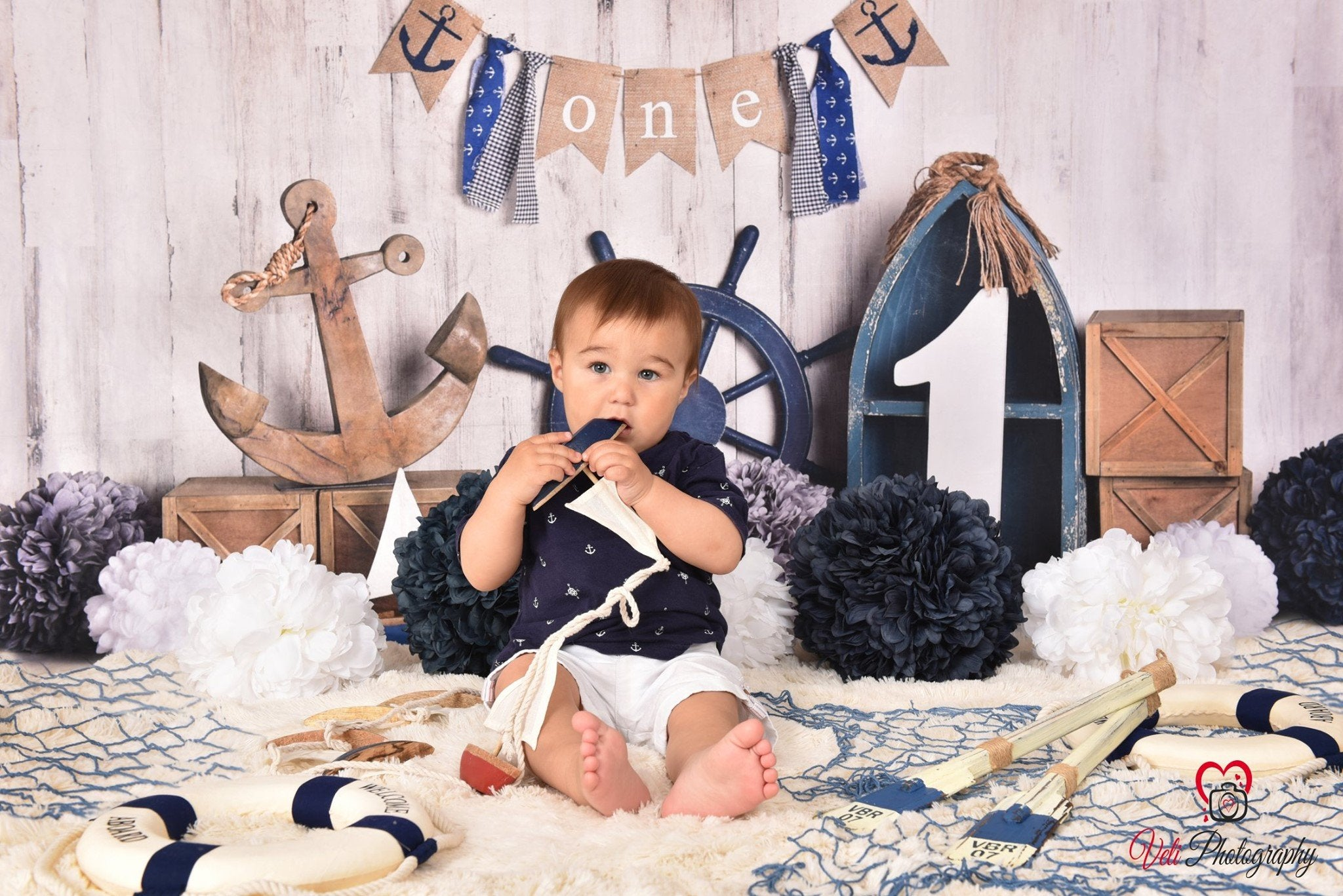 Load image into Gallery viewer, Kate Rudder Anchor Sailor Children Backdrop for Summer cake smash Designed by Mandy Ringe Photography