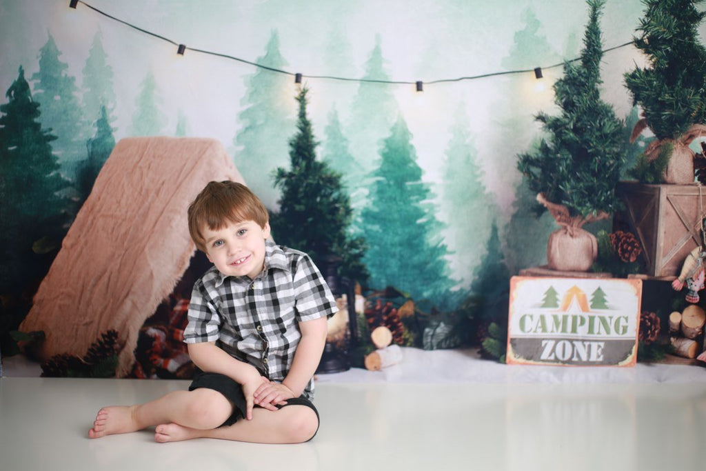 Kate Forest Camping Tent and Lamp Children Summer Backdrop for Photography Designed by Megan Leigh Photography