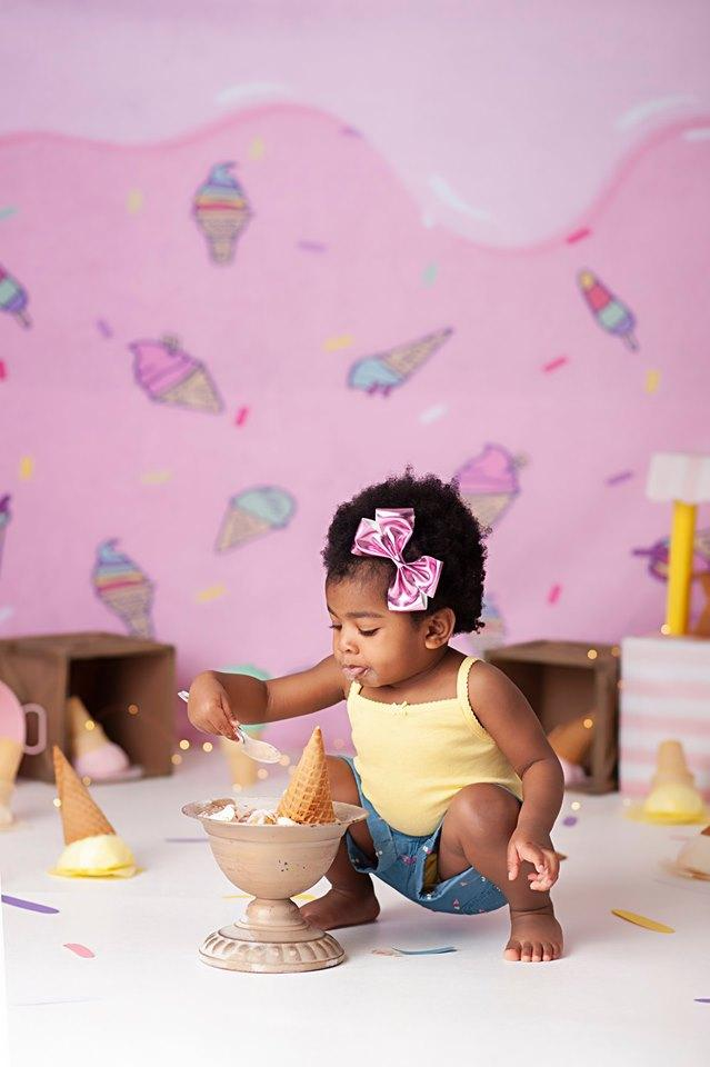 Kate Pink Background with Ice Cream Summer cake smash Backdrop Designed by JFCC