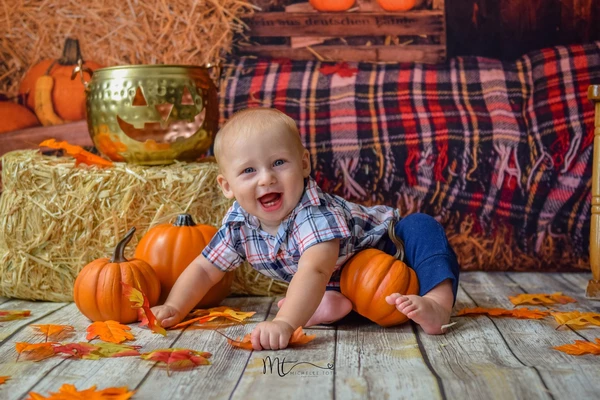 Kate Halloween Pumpkin Haystack Autumn Backdrop for Photograpy