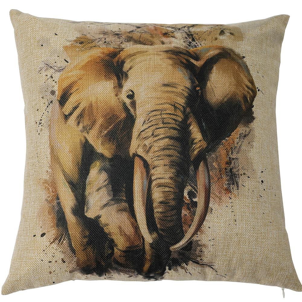 Kate 18 x 18 Inches Hand Painting Elephant Decorative Pillow Cover Double Printed Cotton Linen Blend Throw Cushion Case - Kate backdrops UK