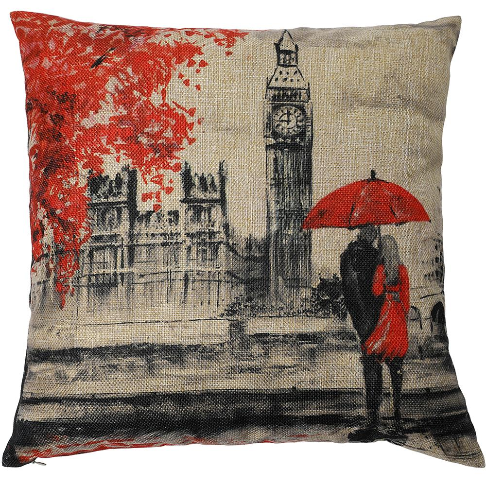 Kate Decorative Pillow Cover 18 x 18 Inch Big Ben Hand Painting Throw Pillow Case Cushion Covers for Home Décor Design